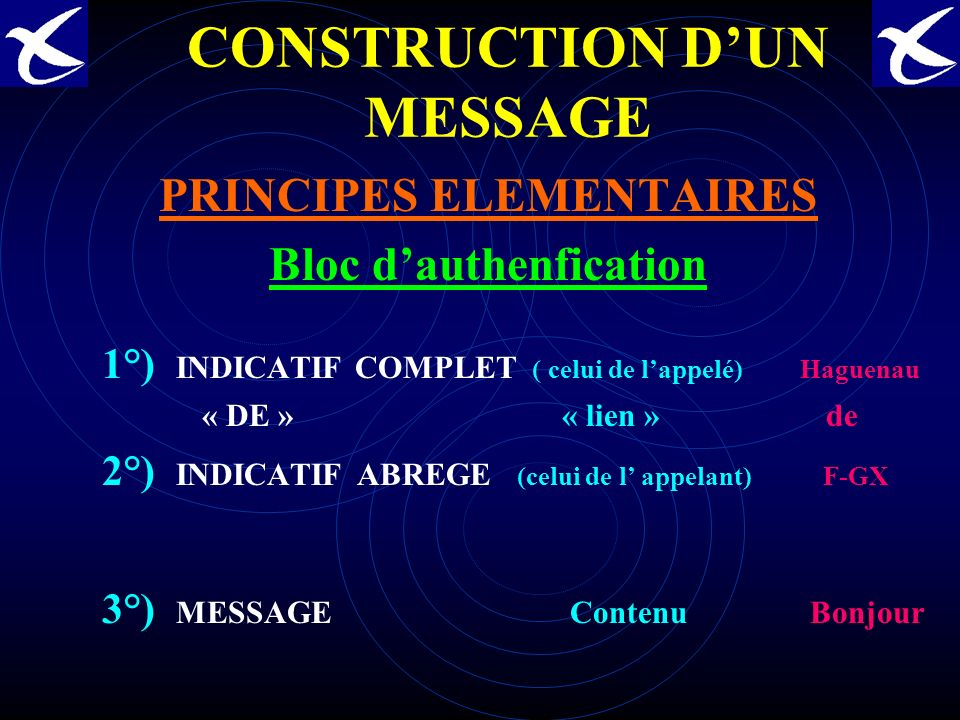 CONSTRUCTION D'UN MESSAGE