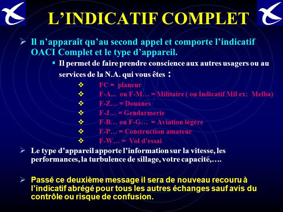 L'INDICATIF COMPLET Il n'apparaît qu'au second appel et comporte l'indicatif OACI Complet et le type d'appareil.
