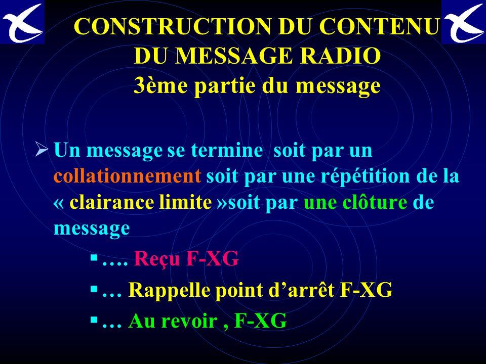CONSTRUCTION DU CONTENU DU MESSAGE RADIO 3ème partie du message