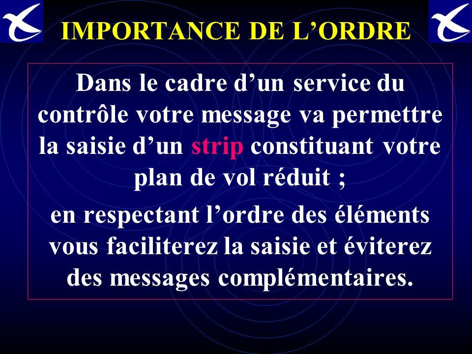 IMPORTANCE DE L'ORDRE Dans le cadre d'un service du contrôle votre message va permettre la saisie d'un strip constituant votre plan de vol réduit ;