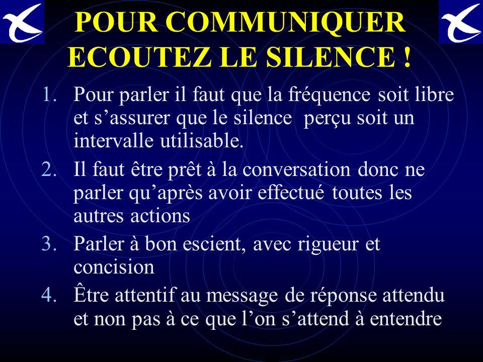 POUR COMMUNIQUER ECOUTEZ LE SILENCE !