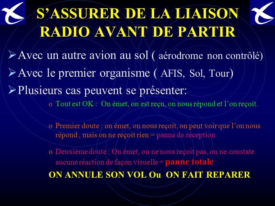 S'ASSURER DE LA LIAISON RADIO AVANT DE PARTIR