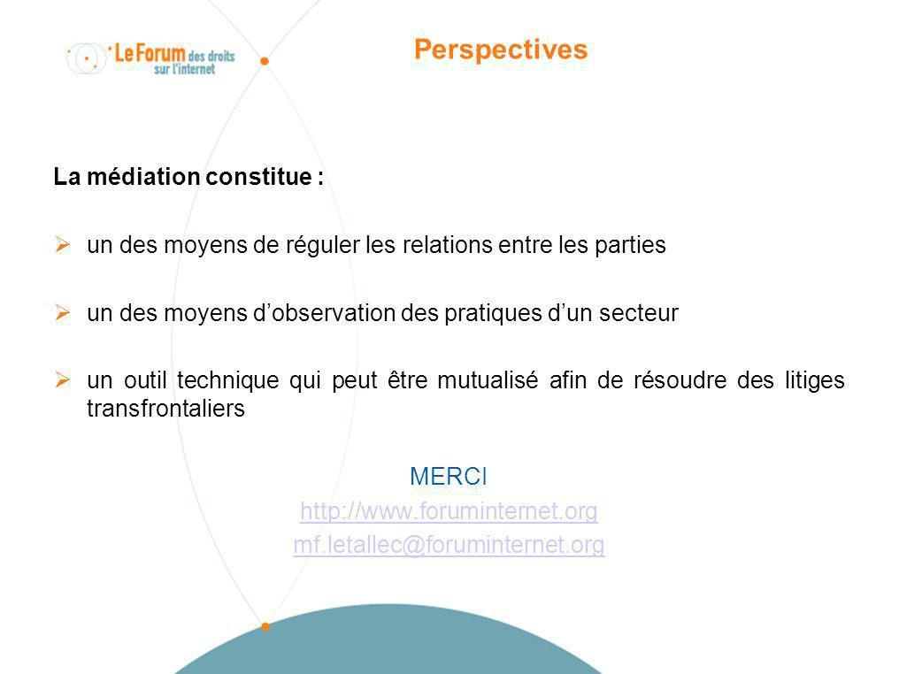 Perspectives La médiation constitue : un des moyens de réguler les relations entre les parties.