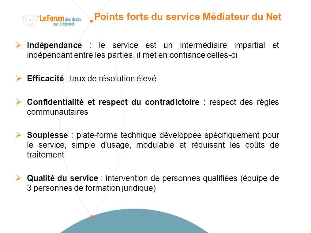 Points forts du service Médiateur du Net