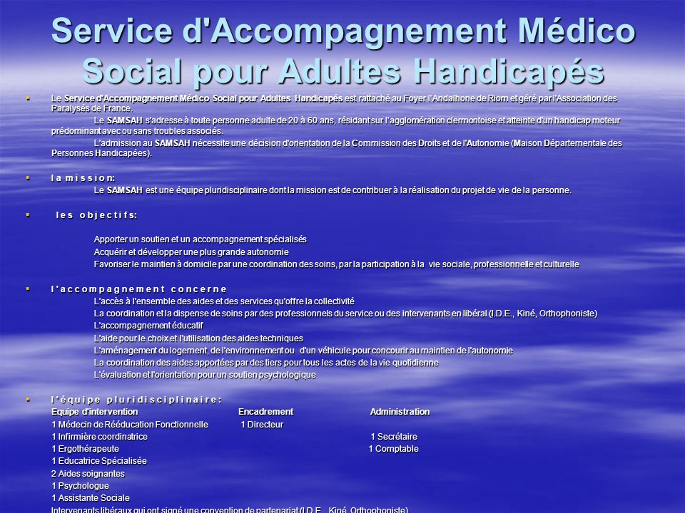 Service d Accompagnement Médico Social pour Adultes Handicapés