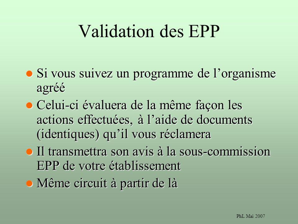 Validation des EPP Si vous suivez un programme de l'organisme agréé