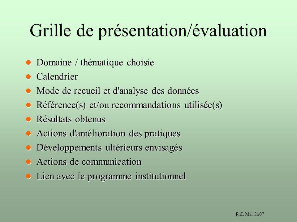 Grille de présentation/évaluation