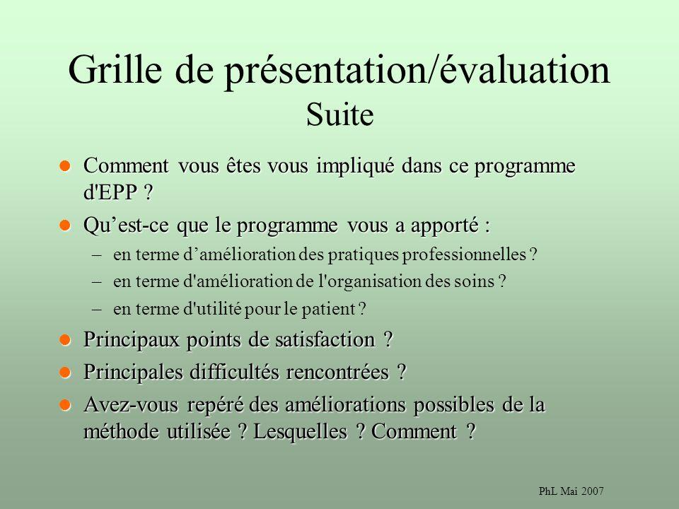 Grille de présentation/évaluation Suite
