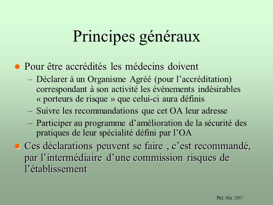 Principes généraux Pour être accrédités les médecins doivent