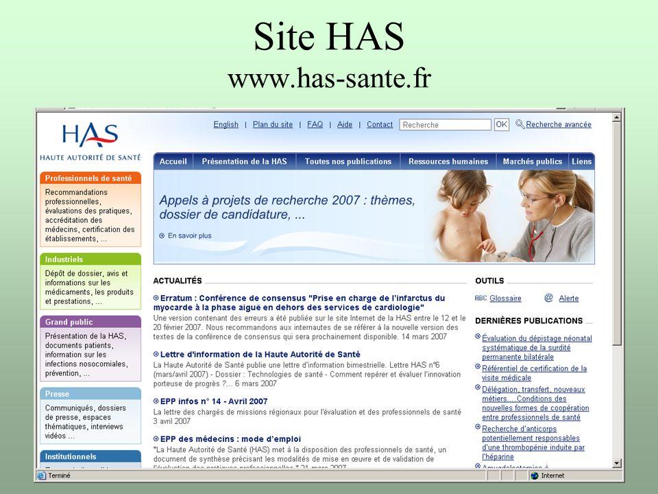 Site HAS www.has-sante.fr