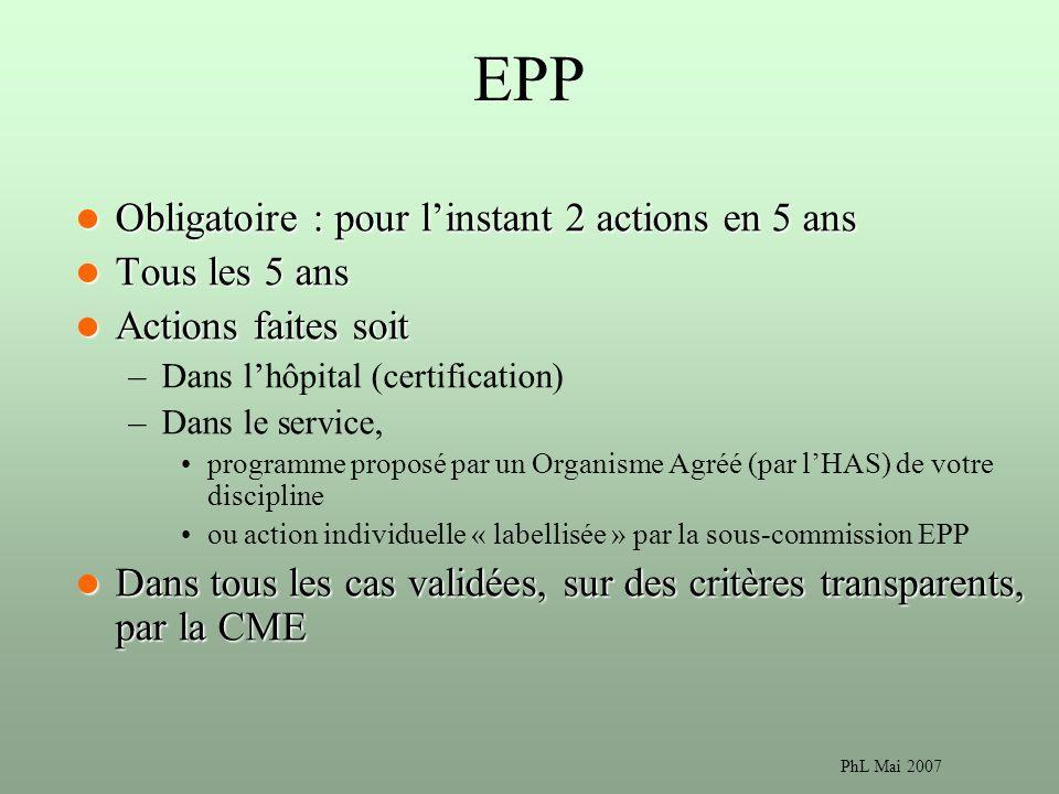 EPP Obligatoire : pour l'instant 2 actions en 5 ans Tous les 5 ans