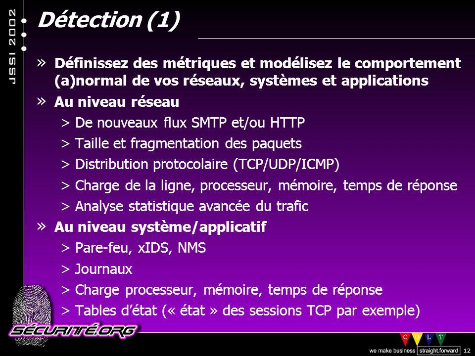 Détection (1) Définissez des métriques et modélisez le comportement (a)normal de vos réseaux, systèmes et applications.