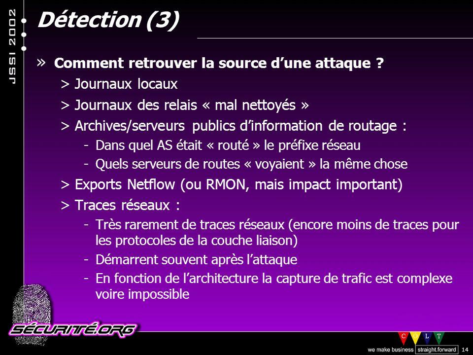 Détection (3) Comment retrouver la source d'une attaque