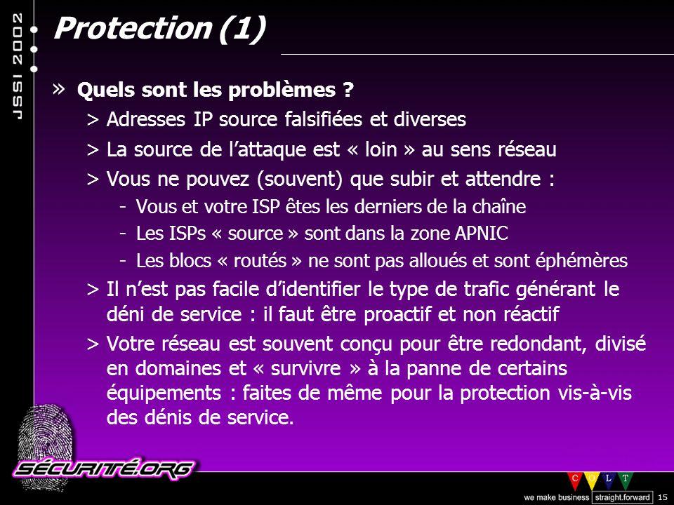 Protection (1) Quels sont les problèmes