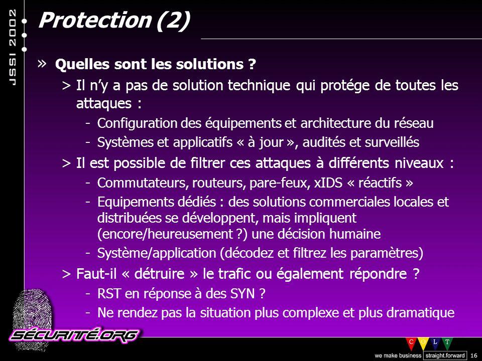 Protection (2) Quelles sont les solutions