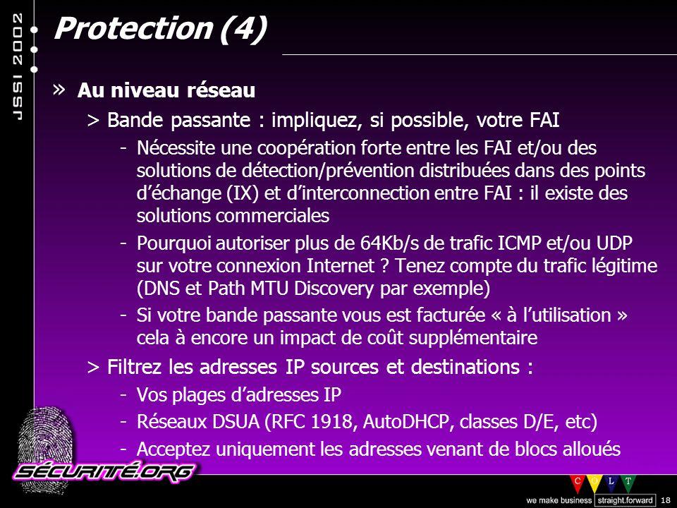 Protection (4) Au niveau réseau