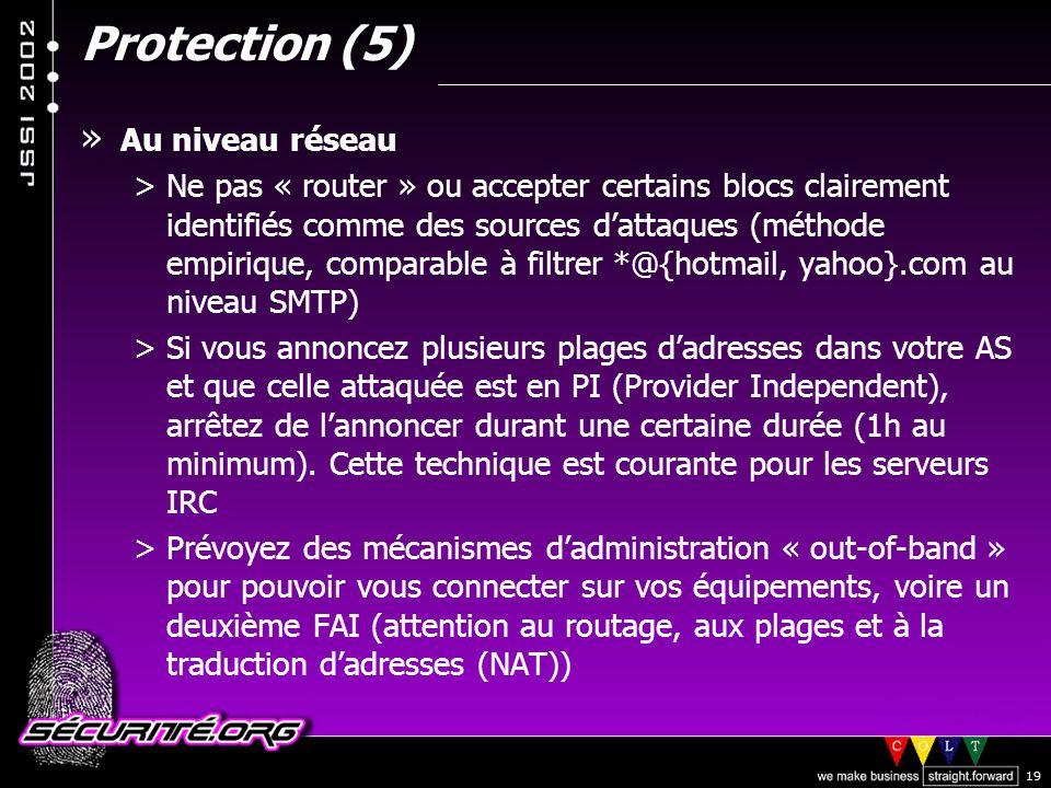 Protection (5) Au niveau réseau
