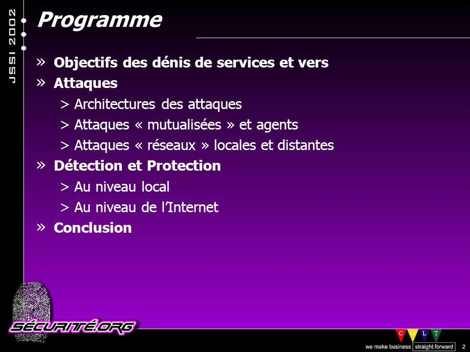 Programme Objectifs des dénis de services et vers Attaques