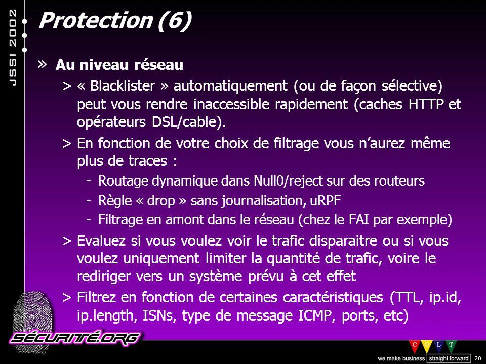 Protection (6) Au niveau réseau