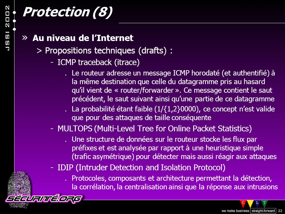 Protection (8) Au niveau de l'Internet
