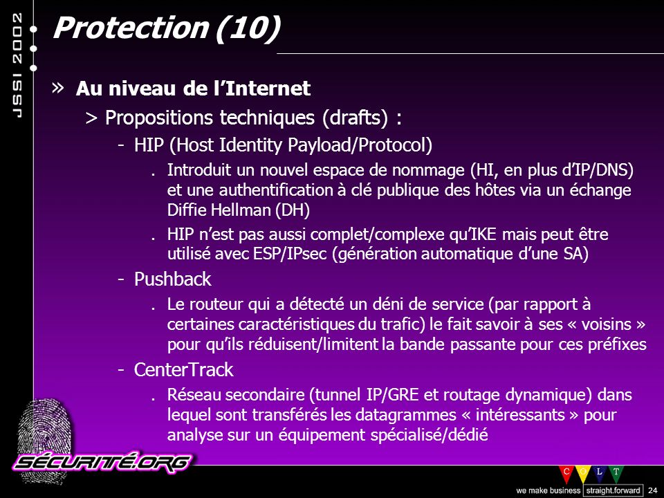 Protection (10) Au niveau de l'Internet