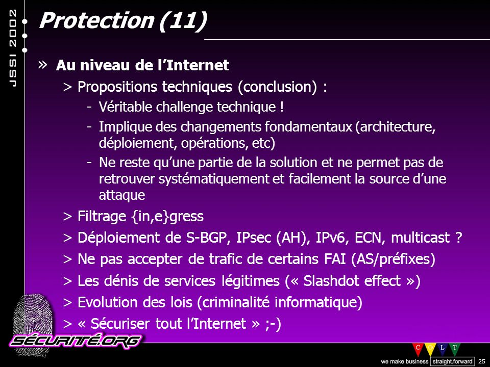 Protection (11) Au niveau de l'Internet