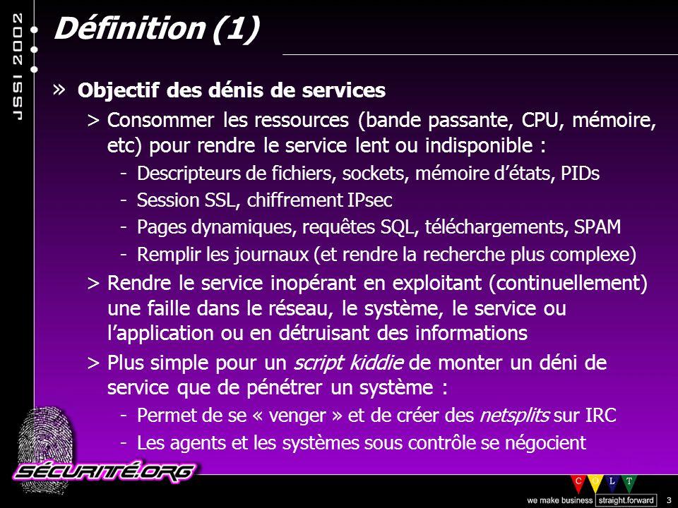 Définition (1) Objectif des dénis de services