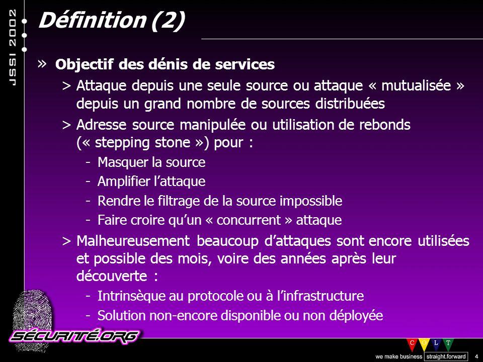 Définition (2) Objectif des dénis de services