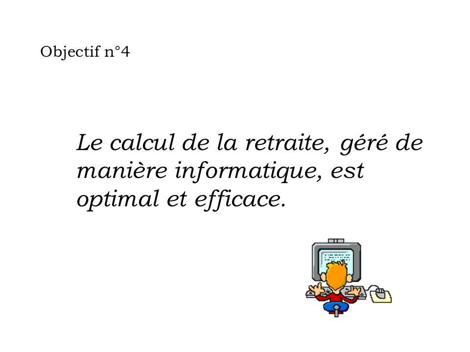 Objectif n°4 Le calcul de la retraite, géré de manière informatique, est optimal et efficace.