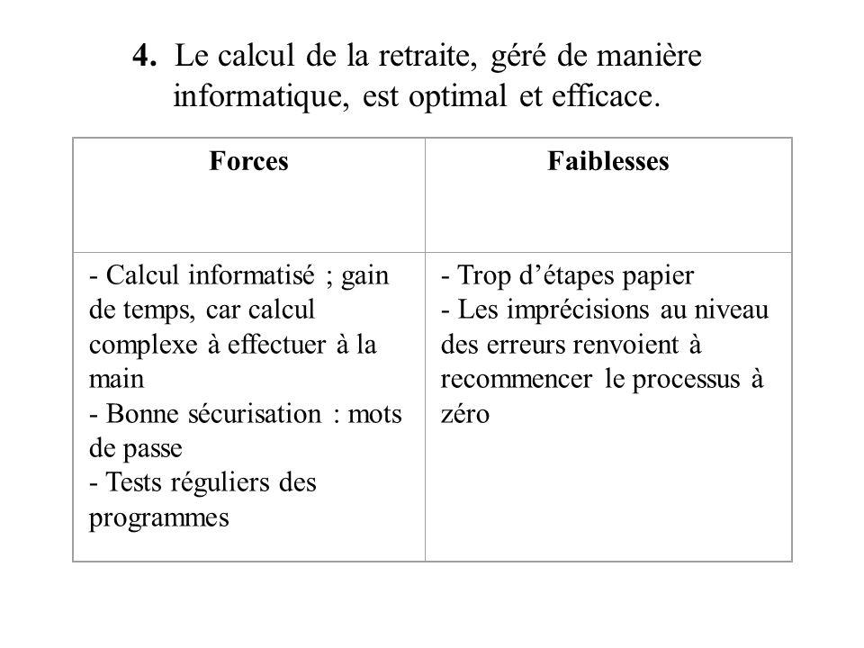 4. Le calcul de la retraite, géré de manière informatique, est optimal et efficace.