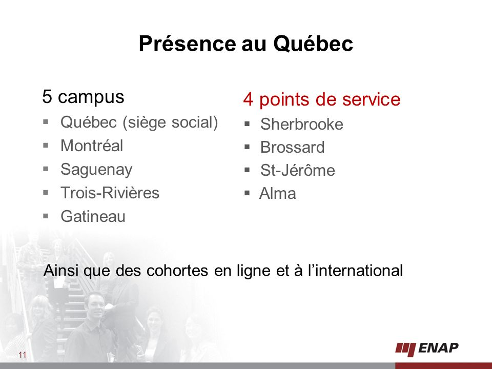 Présence au Québec 5 campus 4 points de service Québec (siège social)