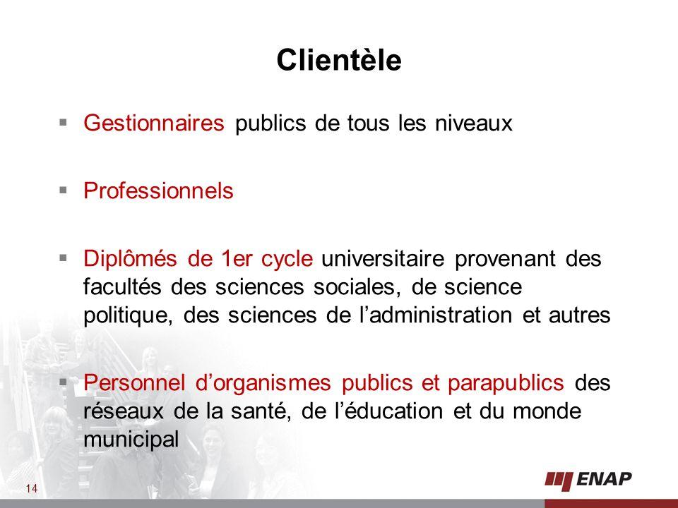 Clientèle Gestionnaires publics de tous les niveaux Professionnels