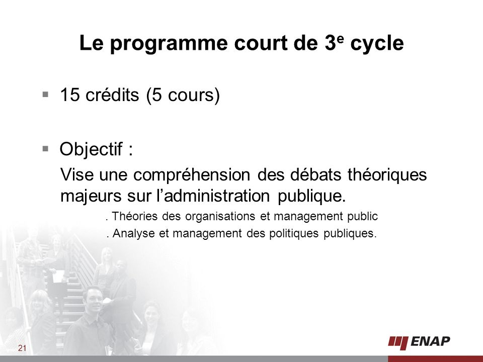 Le programme court de 3e cycle