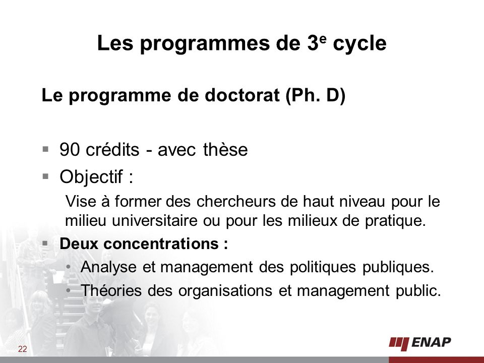 Les programmes de 3e cycle