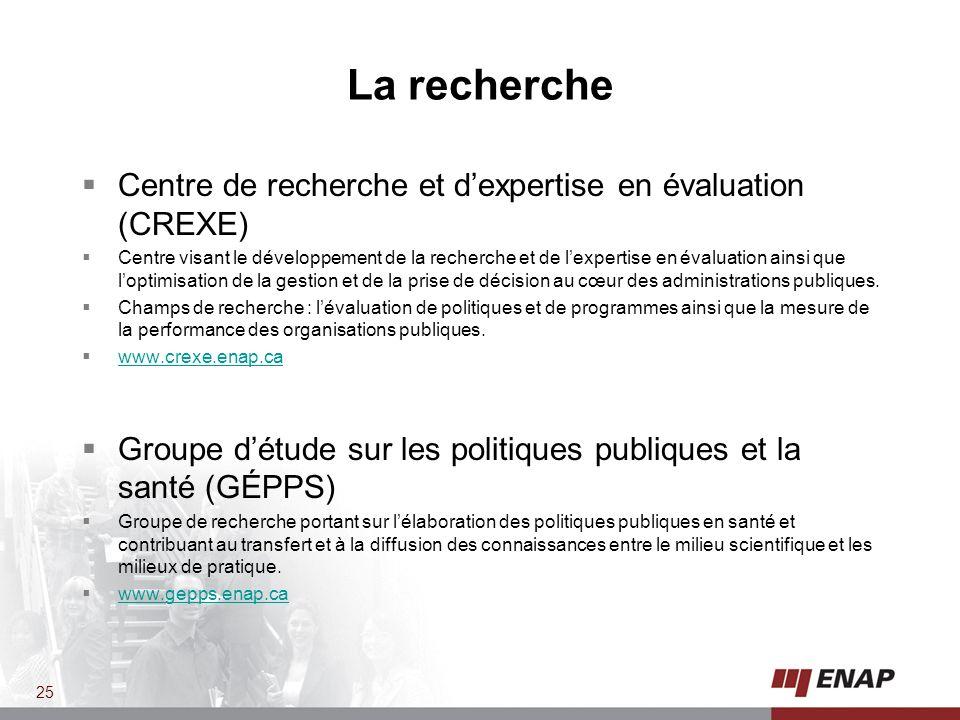 La recherche Centre de recherche et d'expertise en évaluation (CREXE)