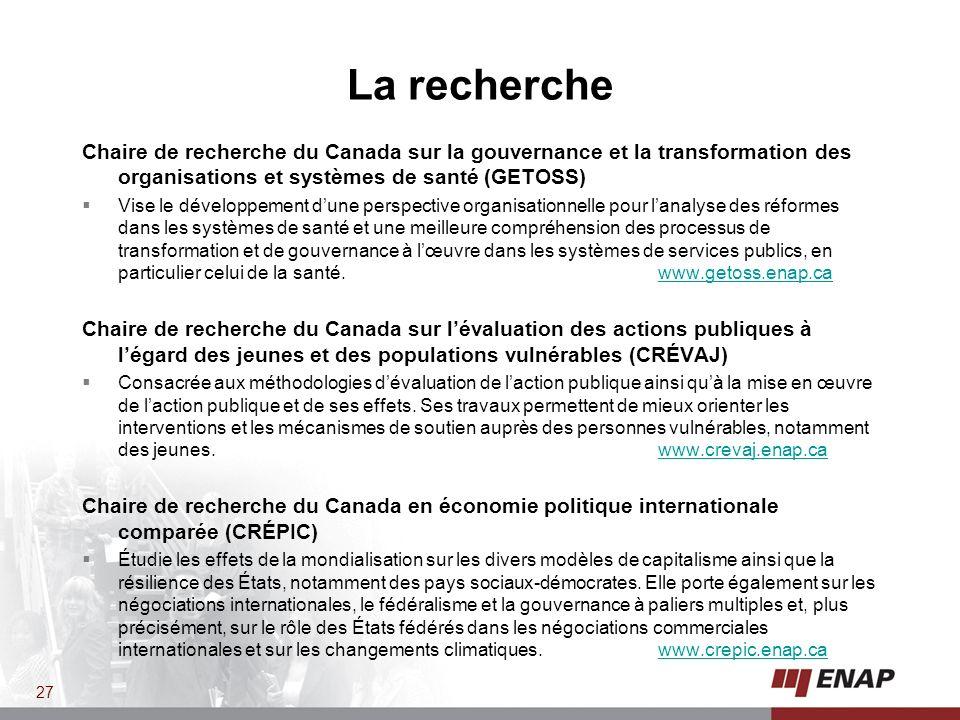 La recherche Chaire de recherche du Canada sur la gouvernance et la transformation des organisations et systèmes de santé (GETOSS)