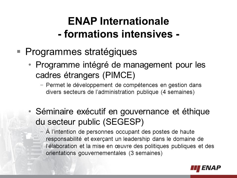 ENAP Internationale - formations intensives -