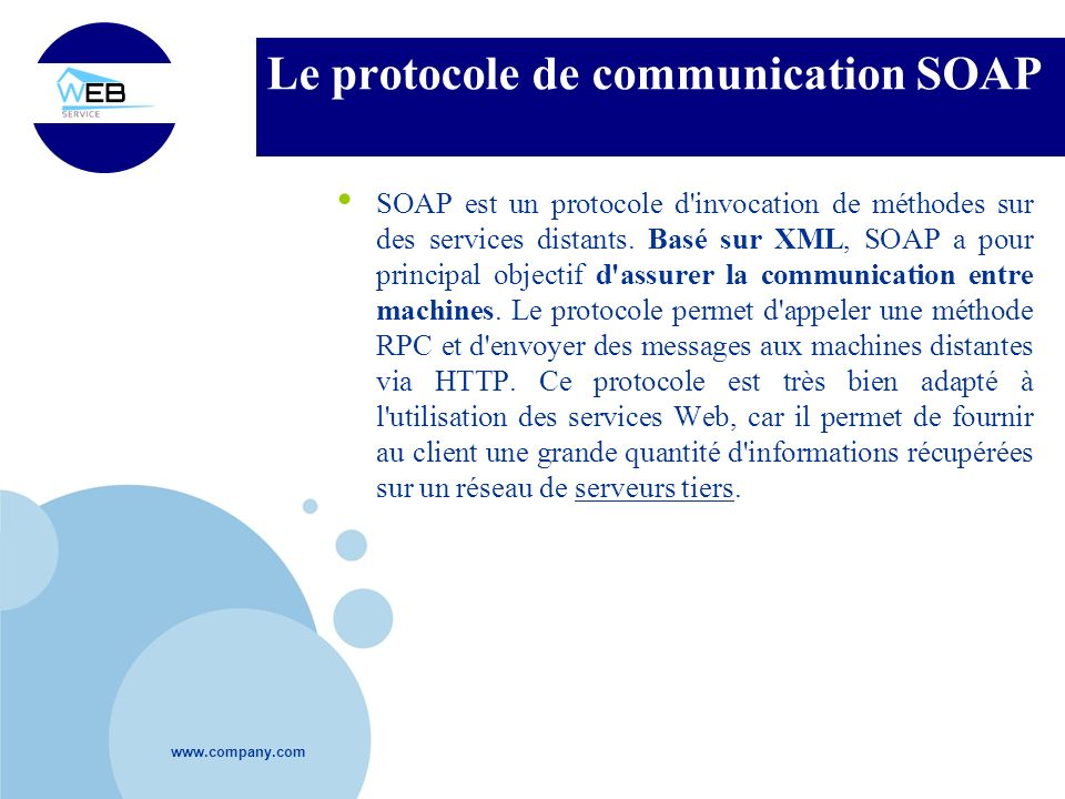 Le protocole de communication SOAP