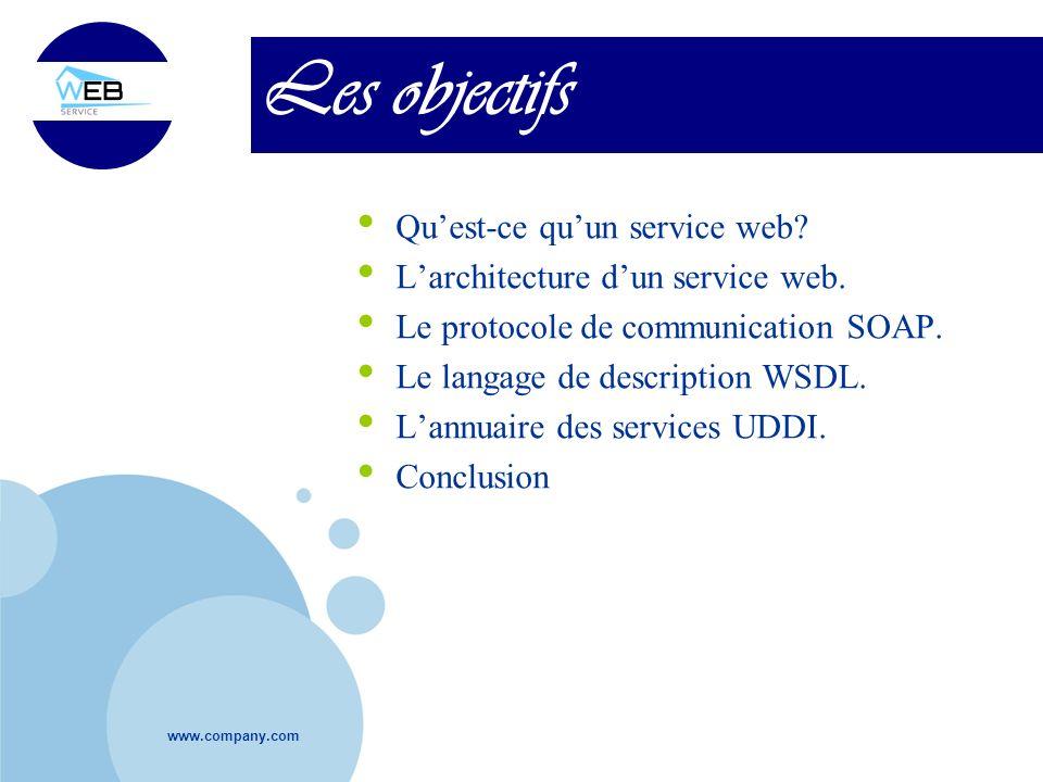 Les objectifs Qu'est-ce qu'un service web