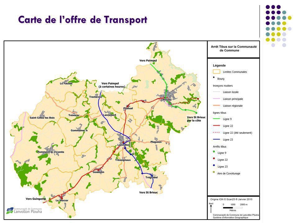 Carte de l'offre de Transport