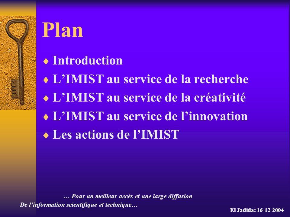 Plan Introduction L'IMIST au service de la recherche