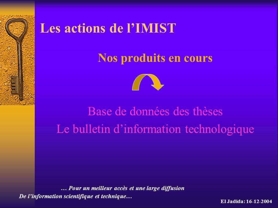 Les actions de l'IMIST Nos produits en cours
