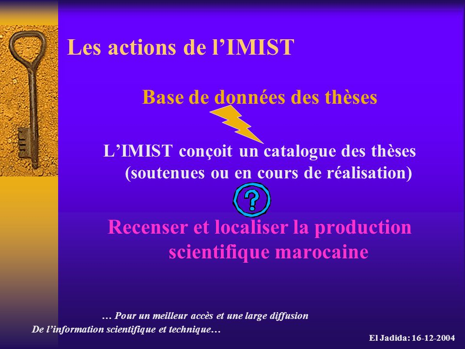 Les actions de l'IMIST Base de données des thèses