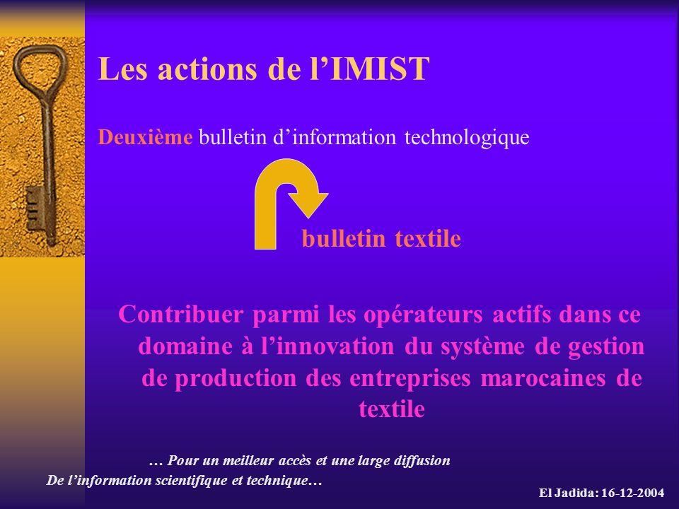 Les actions de l'IMIST Deuxième bulletin d'information technologique. bulletin textile.