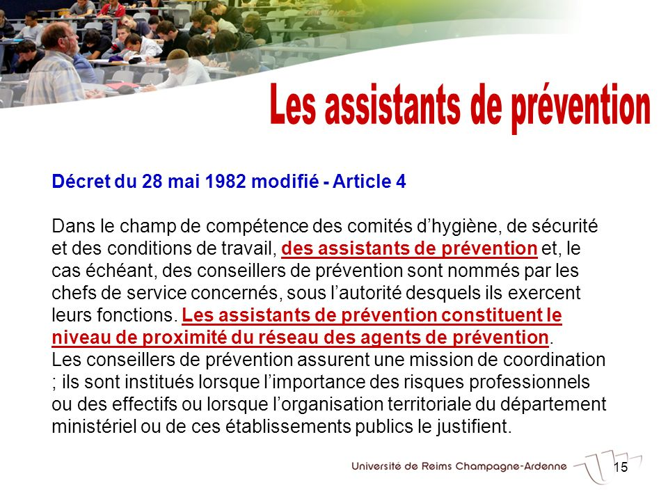 Les assistants de prévention