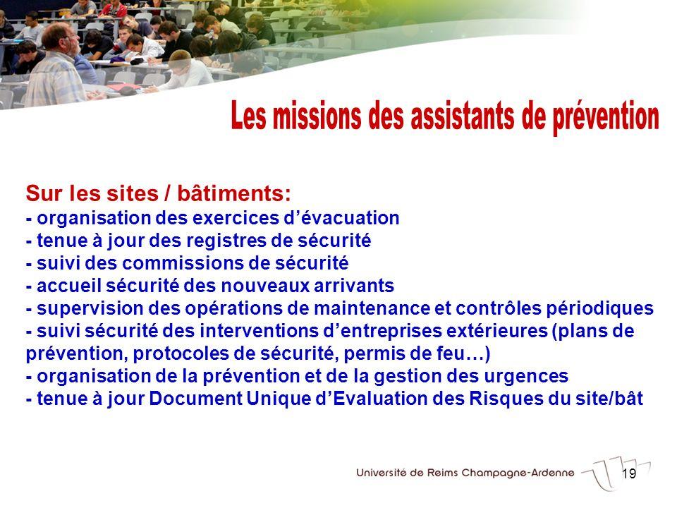 Les missions des assistants de prévention