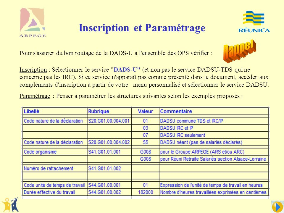 Inscription et Paramétrage