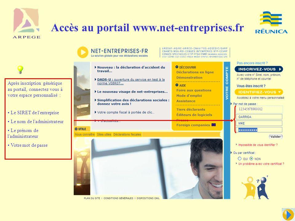 Accès au portail www.net-entreprises.fr