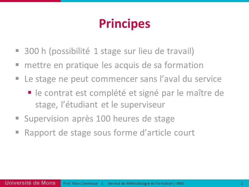 Principes 300 h (possibilité 1 stage sur lieu de travail)