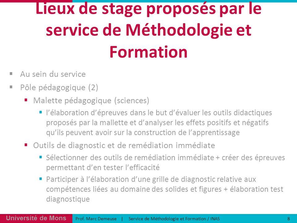 Lieux de stage proposés par le service de Méthodologie et Formation